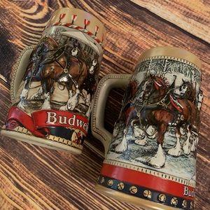 Lot of 2 vintage Budweiser stein mugs 1988 horse